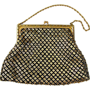 Vintage Whiting and Davis Black - Gold Mesh Handbag Purse