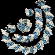 Rare 1958 Trifari Flowering Fern Full Parure - 4 Pc. Set - Enamel w/ Rhinestones