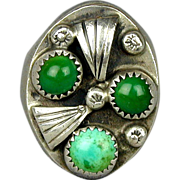 Old Native American Men's Ring - Heavy Sterling Silver w/ Green Blue Turquoise