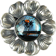 Vintage 1940s Sterling Silver Butterfly Wing Flower Pin