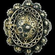 Old Silver Poison Pill Ring - Ornate Handmade Pillbox