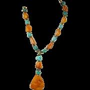 Baltic Egg Yolk Amber Kingman Turquoise Bead Necklace w/ Carved Pendant