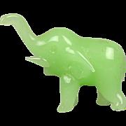 Vintage Green Jade Miniature Elephant Figurine