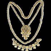 Vintage ART Florentine Gilded Coin Necklace - Bracelet Set