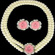 KJL Kenneth Jay Lane Perfect Pansy Necklace Earrings Demi Set Book Piece
