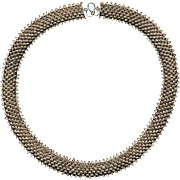 Old Ethnic Solid Sterling Silver Necklace - All Detailed Texture