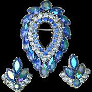 Sarah Cov Aurora Borealis Rhinestone Pin Earrings Set