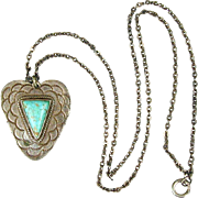 Old Navajo Sterling Silver Turquoise Heart Pendant Necklace