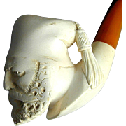 Vintage Carved Meerschaum Pipe w/ Bakelite Stem - Serious Sultan