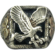 Old Native American EAGLE Sterling Silver Ring w/ Onyx