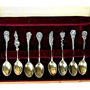 Vintage 8 Whiting Sterling Silver Demitasse Spoons Flowers Boxed Set