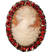 Vintage Gold-Filled Carved Cameo Pin Pendant w/ Faux Rubies