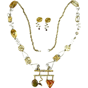 Modernist Long Wiggly Squiggly Necklace & Earrings Set