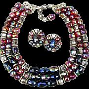 Vintage HOBE 3-Strand AB Crystal Rhinestone Necklace w/ Earrings