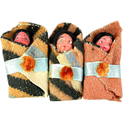 Set of 3 Papoose Indian Dolls Celluloid 1930s Japan