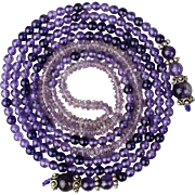 Long 42-Inch Amethyst Bead Rope Lariat Chain Necklace