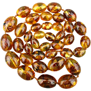 Long Vintage Floating Amber Resin Bead Necklace