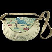 Vintage 1950s Art on Leather Handbag Parrot Jungle Bird Taking Psyche Test