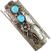 SOLD Vintage Navajo Sterling Silver Turquoise BIC Lighter Cover Case