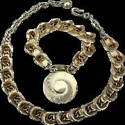 Vintage 1950s Gilded Links Necklace - Charm Bracelet Set