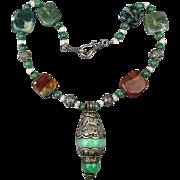 Vintage Sterling Silver Gemstones Pendant Necklace Worldly Exotica