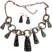 Vintage Burnished Copper Dangle Necklace Earrings Set Greened Patina