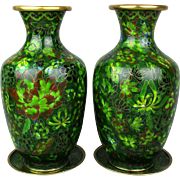 Vintage Pair Chinese Cloisonne Enamel Vases w/ Mini Plates
