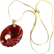 Unusual Vintage Carved Carnelian Clamshell w/ Pearl 14K Gold Chain Pendant Necklace