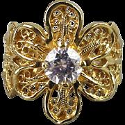 Vintage 14K Gold FLOWER Ring w/ Faux Diamond