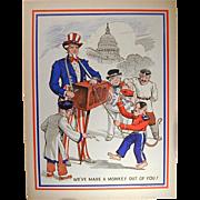 SOLD Original 1943 WWII Uncle Sam Propaganda Poster w/ Hitler Monkey
