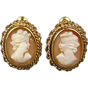 Italian 18K Gold Carved Shell Cameo Girl Earrings - Intricate Setting