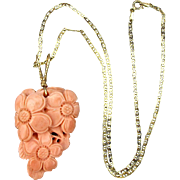Old Hand-Carved Angel Skin Coral Pendant on 14K Gold Chain Necklace