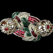 CORO Camellias Duette Pin Brooch Dress Clips Art Deco Trembler