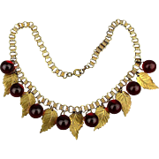 Old c1930 Glass Berries Brass Leaves Necklace Charm Dangles
