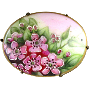 Victorian Hand-Painted Porcelain Flowers Pin Brooch - Great Colors