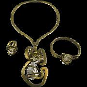 Modernist Signed BRUNO Jewelry Set - Necklace Bracelet Ring 1980s