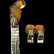 Modernist KIEN Long Jeweled Pin w/ Clip Earrings Very Unique Set