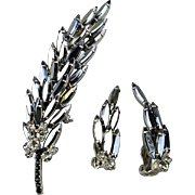Vintage Stacked Black Rhinestone Leaf Pin w/ Clip Earrings Set