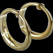Modernist 14K Yellow Gold Hoop Earrings w/ a Twist