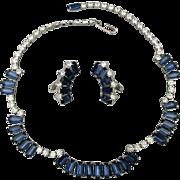 Vintage Faux Diamonds & Sapphires Rhinestone Necklace - Earrings