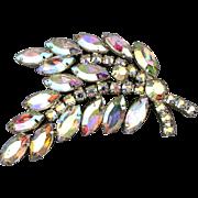 WEISS Aurora Borealis Rhinestone Fern Frond Pin Brooch