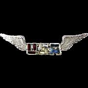 WWII 1940s Sterling Silver Rhinestone U.S.A. Wings Pin - Sweetheart Jewelry