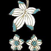 Vintage Crown Trifari Pin - Earrings Set Enamel w/ Turquoise Stones