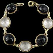 14K Gold Vintage Scarab Beetle Bracelet Rock Crystal - Black Onyx