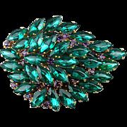 Big Rare Jutta Reissig Hamburg Faux Emerald Pin Brooch