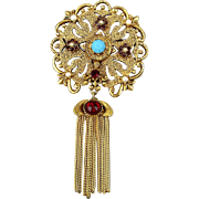 Vintage FLORENZA Pin Brooch Jeweled Victorian Revival