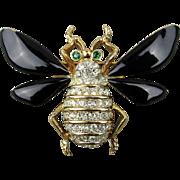 Vintage Rhinestone Enamel Bug Insect Pin Brooch