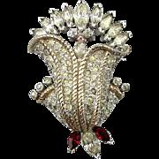 Art Deco Era JOMAZ Flower Pin Pave Set Rhinestones