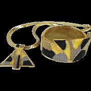 Modernist 1970s Signed Designer Set Necklace - Bracelet One-of-a-Kind