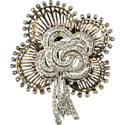 1940s DeRosa Sterling Silver Big Floral Fur Clip Pin Rhinestones